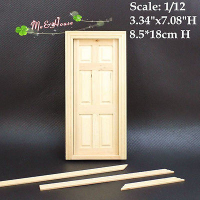 New 1//12 Unpainted Dollhouse Miniature Wooden Interior 6-Panel Door With Frame