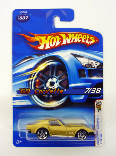 Hot Wheels '69 Corvette #007 2006 First Editions 7 of 38 Gold Die-Cast Car 2005