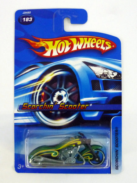 HOT WHEELS SCORCHIN' SCOOTER #183 Green Die-Cast Motorcycle 2006