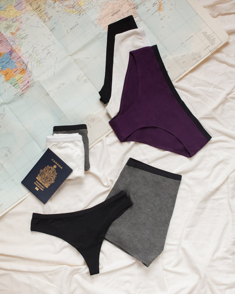 Underwear plum black grey ivory world map