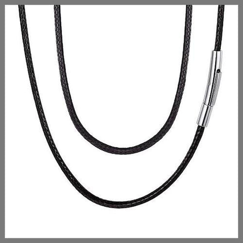 Black leather chain necklace with silver details