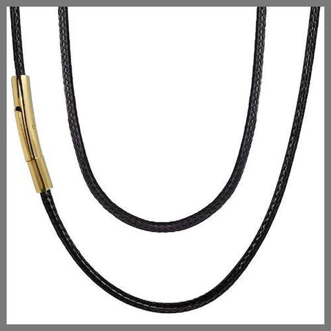 Black leather chain necklace with gold details