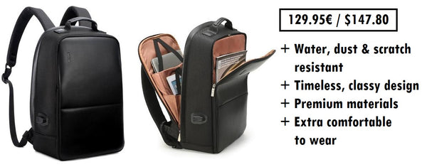 all black backpack with a luxurious design