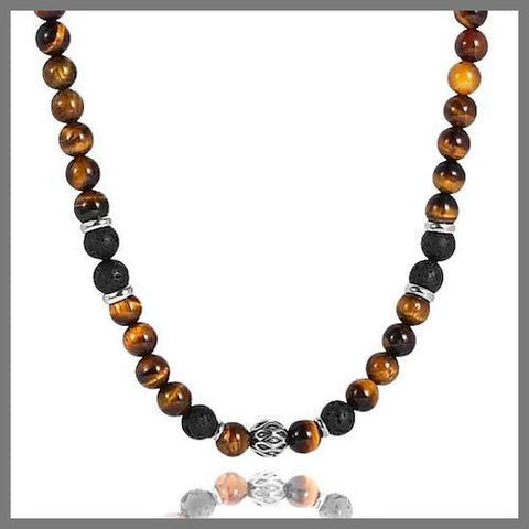 Brown tiger eye bead chain necklace