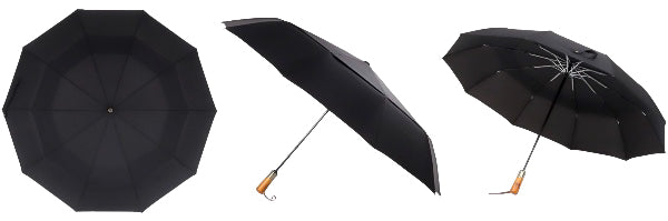 Black Automatic Windproof Wooden Handle Umbrella All Sides