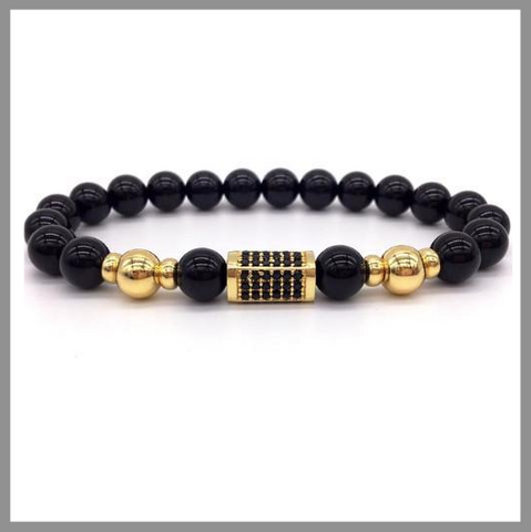 Black Beaded Bar Bracelet
