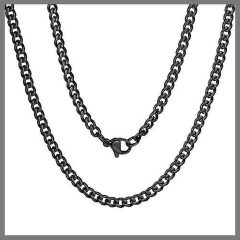Black curb chain necklace for men