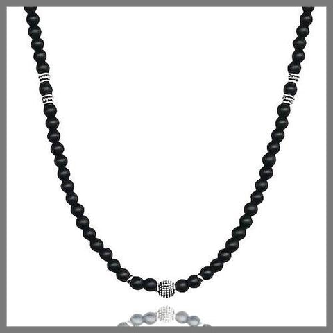 Black onyx bead chain necklace