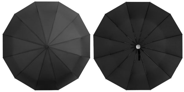 Black rain umbrella canopy from above and below