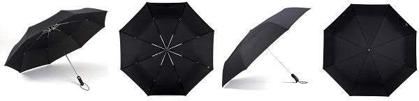 Display of the black automatic windproof umbrella from different perspectives