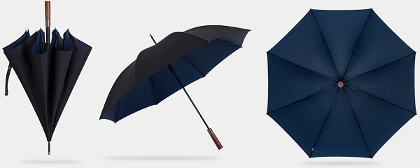 Black & blue strong wooden umbrella displayed from different perspectives
