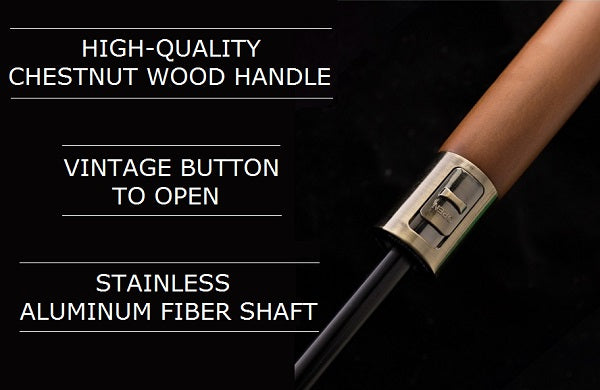 Chestnut wood handle of the black & blue strong wooden umbrella