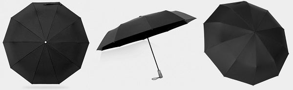 Black folding windproof umbrella display from different angles
