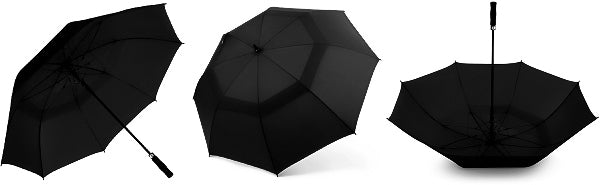 Black large windproof umbrella displayed from different perspectives