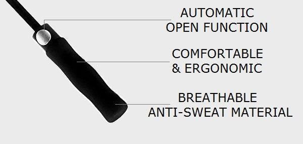 The handle and its details for the black large windproof umbrella