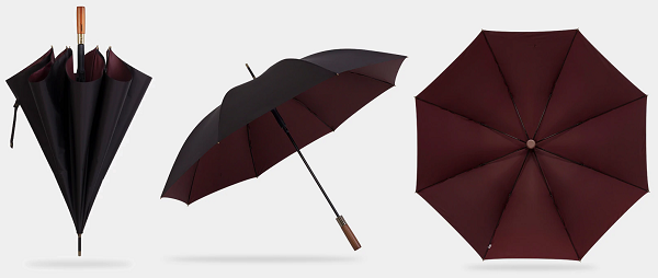 Black & wine red strong wooden umbrella displayed from different perspectives