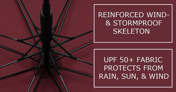 Windproof reinforced skeleton of the black & wine red strong wooden umbrella