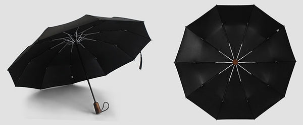 Display of the black wooden handle travel umbrella from different angles