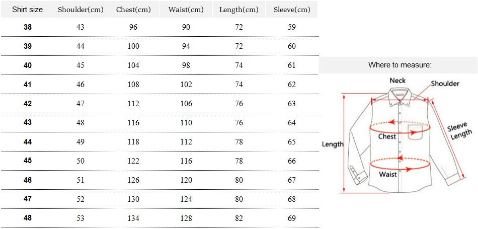 Size guide for dress shirts at classy men collection