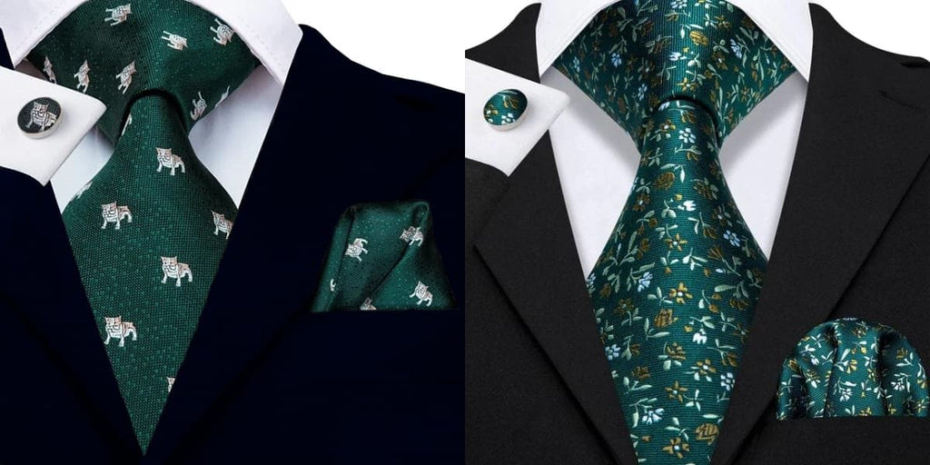 Dark green ties on a blue suit and a black suit