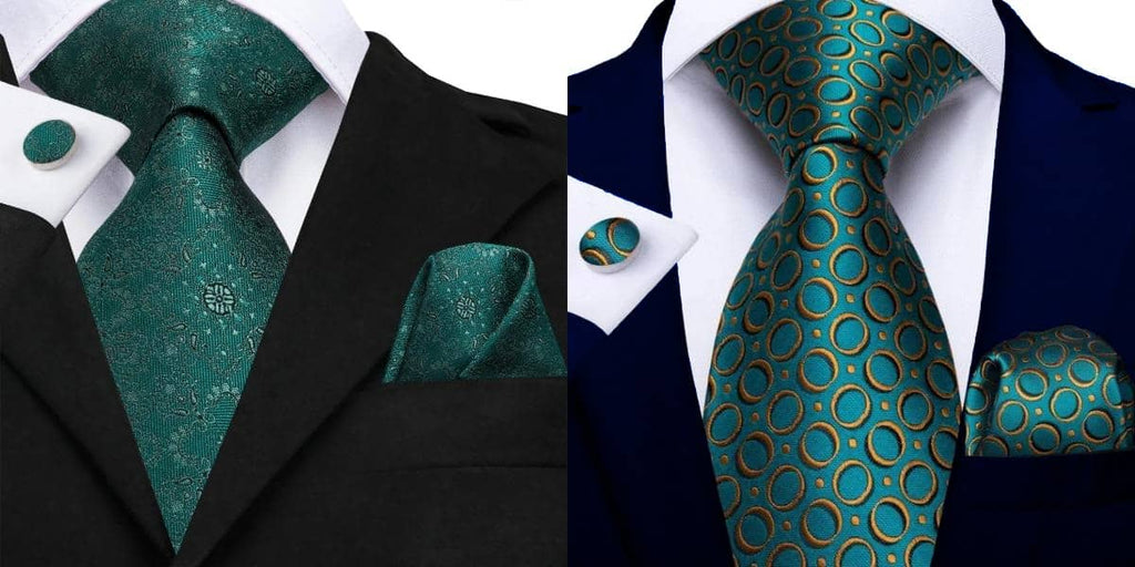 Emerald green ties on a black suit and blue suit