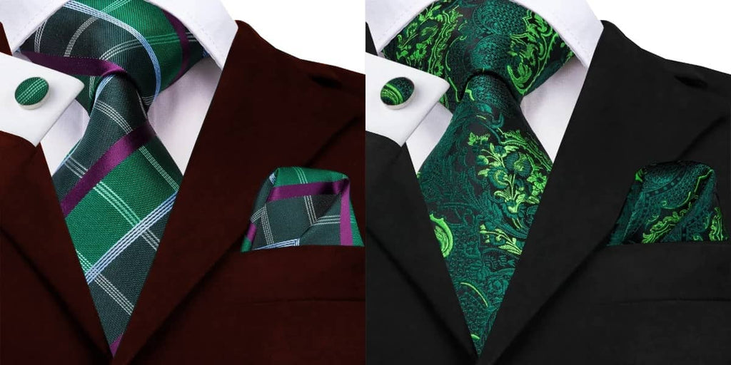 Forest green tie on a red suit and a black suit