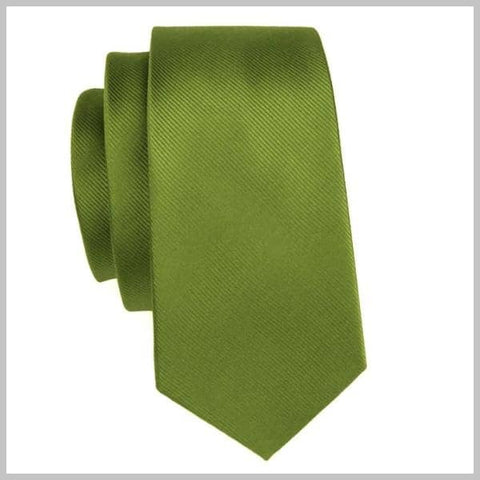 Forest olive green tie made of silk