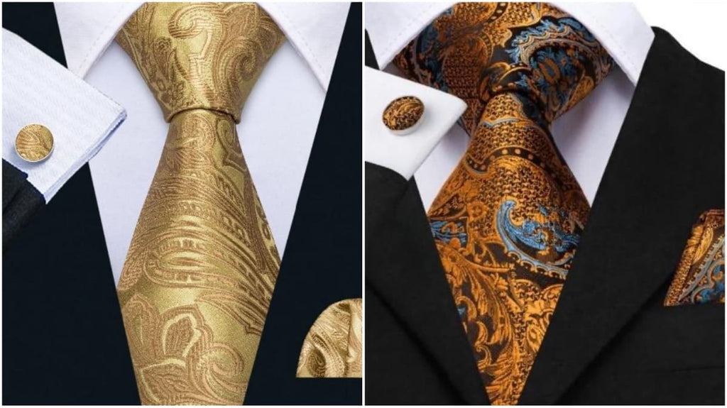 Gold Paisley Ties For Men