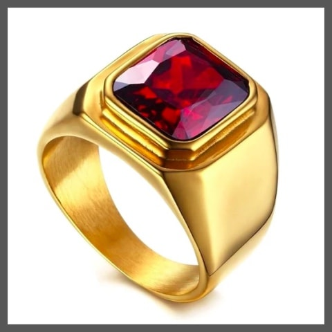 Gold ruby pinky ring for men