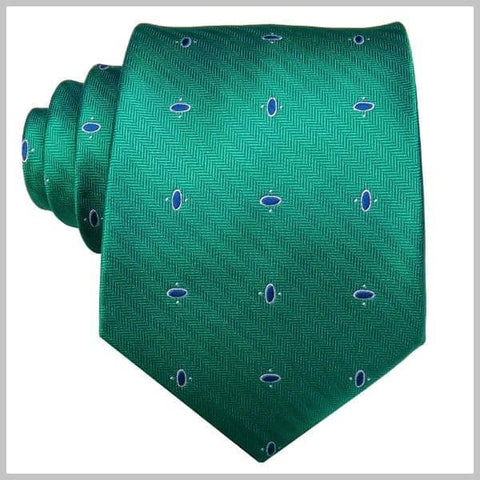 Green silk dotted novelty tie set