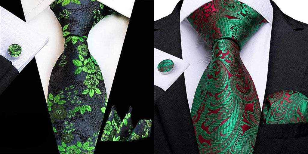 Green floral ties on a black suit