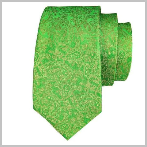 Green silk tie with golden paisley