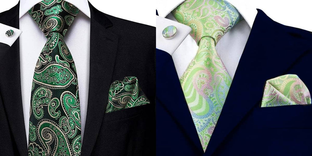 Green paisley tie on a black suit and a blue suit