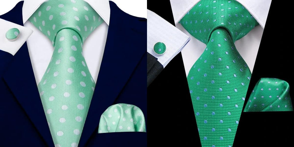 Green polka dot tie on a navy suit and a black suit