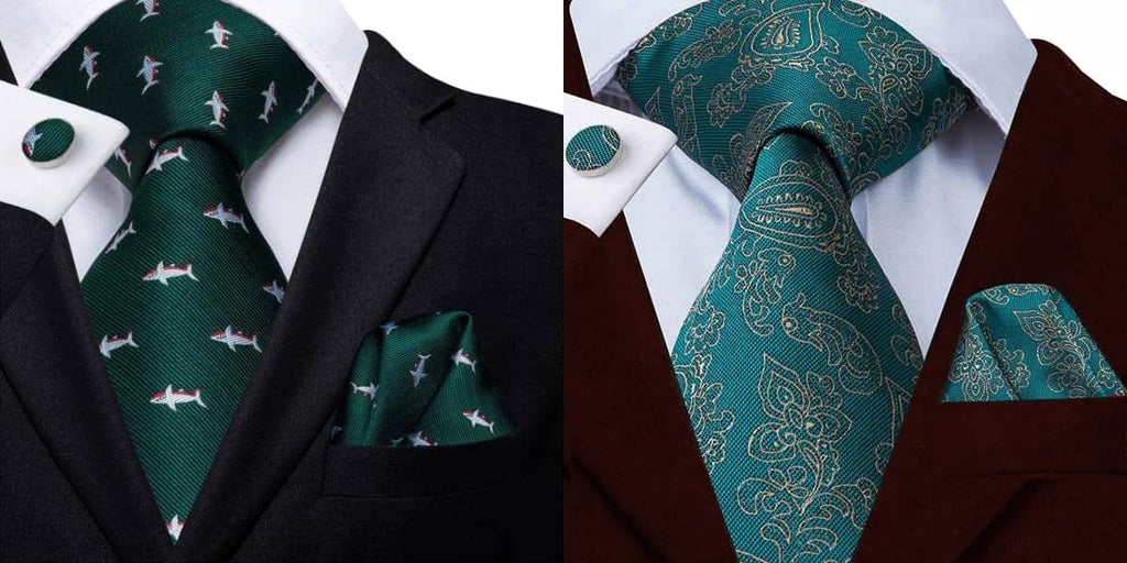Green silk tie on a black suit and a wine red suit