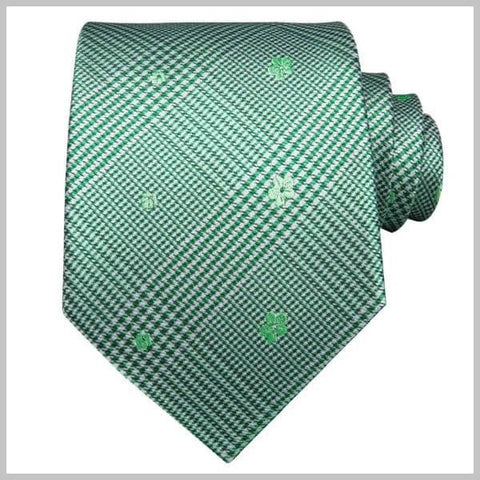 Green silk tartan floral tie set