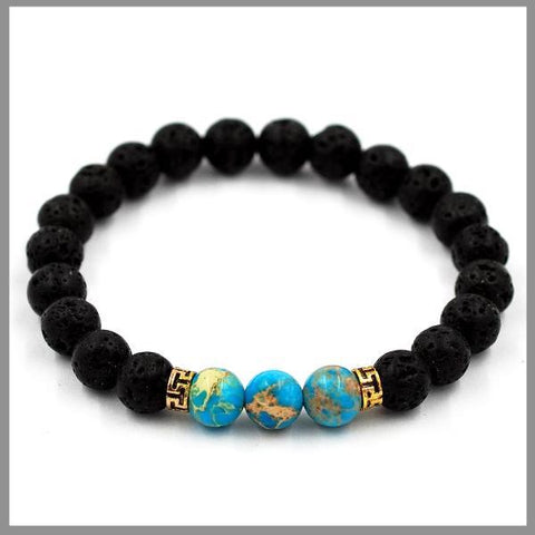 Lava Stone Bracelet With Turquoise Beads