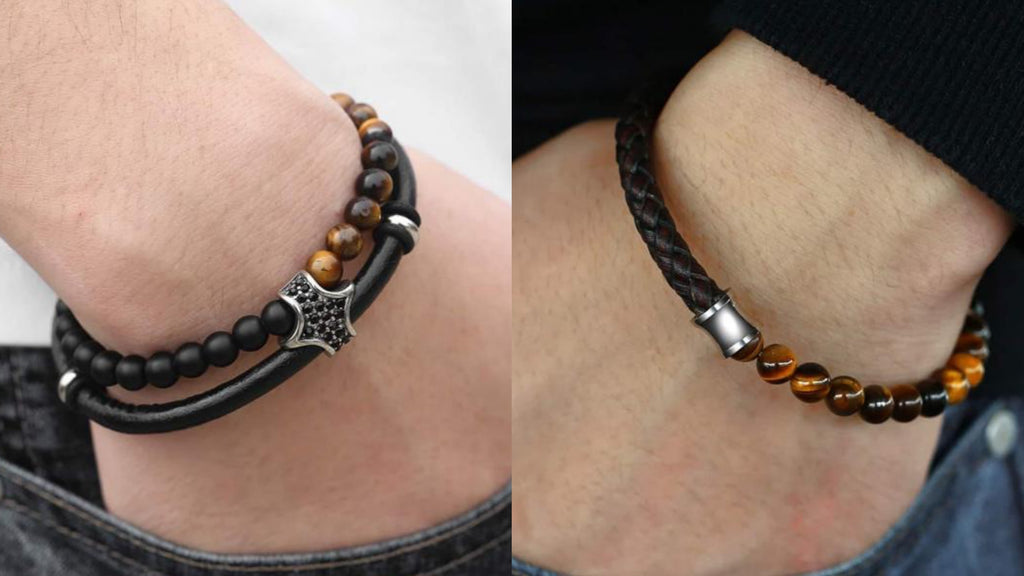 Mens Leather Beaded Bracelets