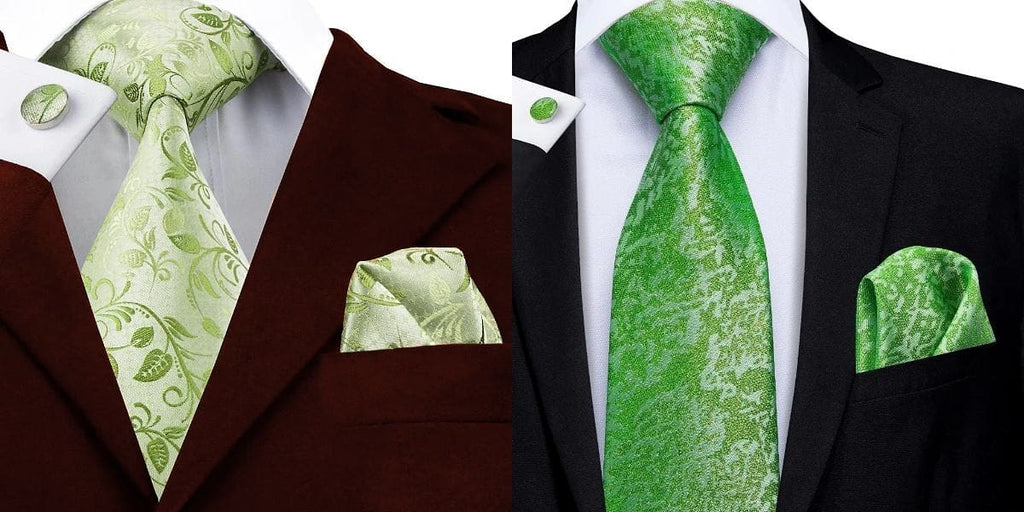 Light green floral tie on a wine red suit and lime green tie on a black suit