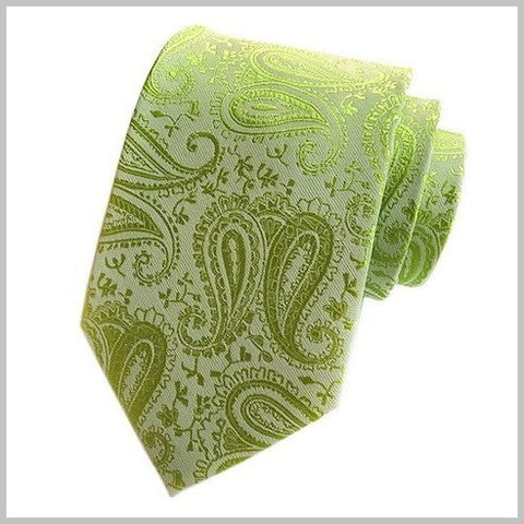 Lime Green Paisley Silk Tie