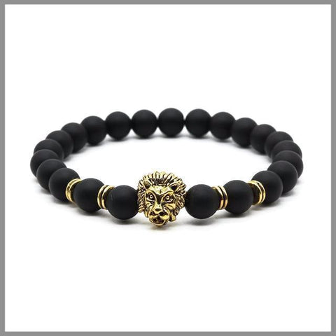 Beaded lion bracelet with gold details