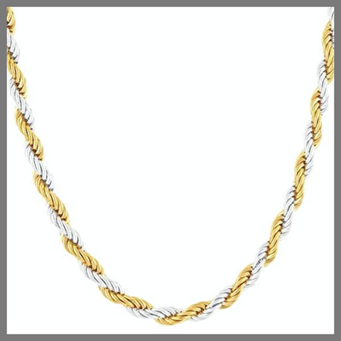Gold silver two-tone rope chain necklace for men