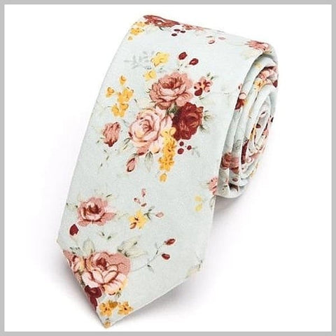 Mint green floral cotton tie