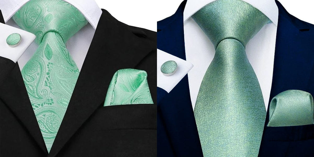 Mint green ties on a black suit and blue suit