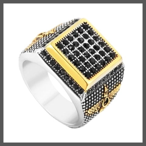 Pave pinky ring for men