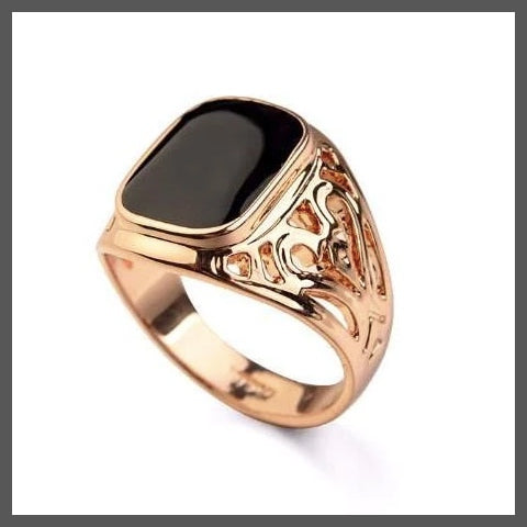 Rose gold onyx pinky ring for men