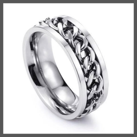 Silver band pinky ring for men