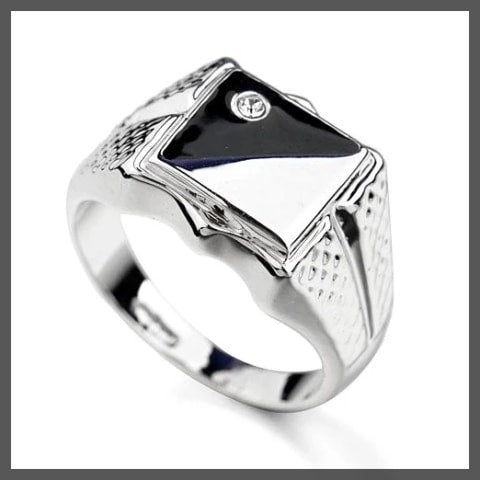 Silver black white pinky ring for men