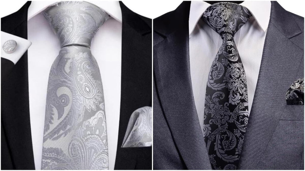 Silver Paisley Ties For Men