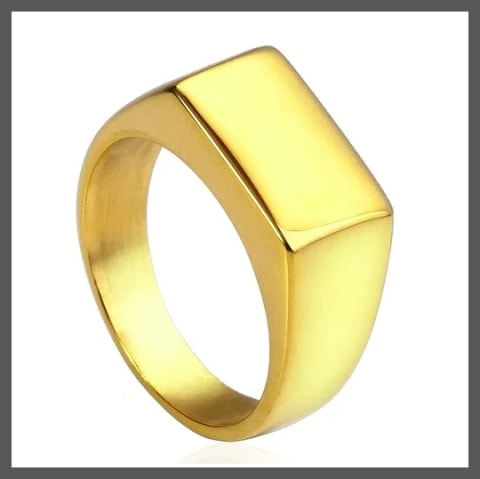 Simple gold pinky ring for men